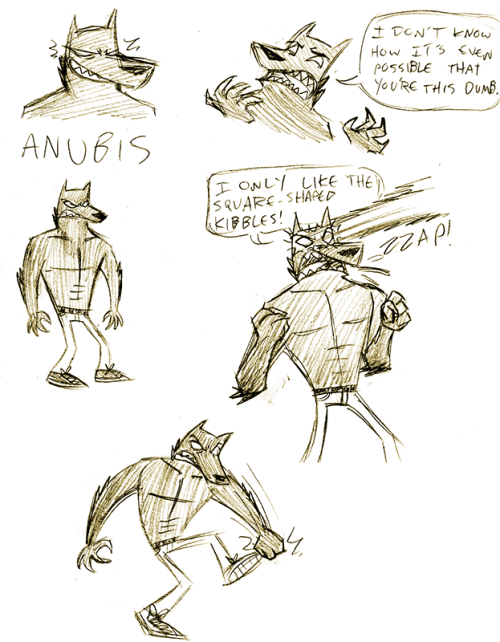 gtrcomic:  Anubis! Instead of going the ultra fancy Egyptian armor and decorations route, i decided to make his design super simple. He's a dog man, he shoots lasers, he has sharp teeth, and he punches stuff. He's basically an angry black Crash Bandicoot.