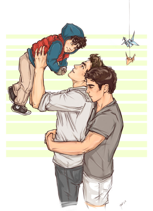 Najia and I commissioned zephyrianboom to draw seblaine with their kid uwu thank you so much