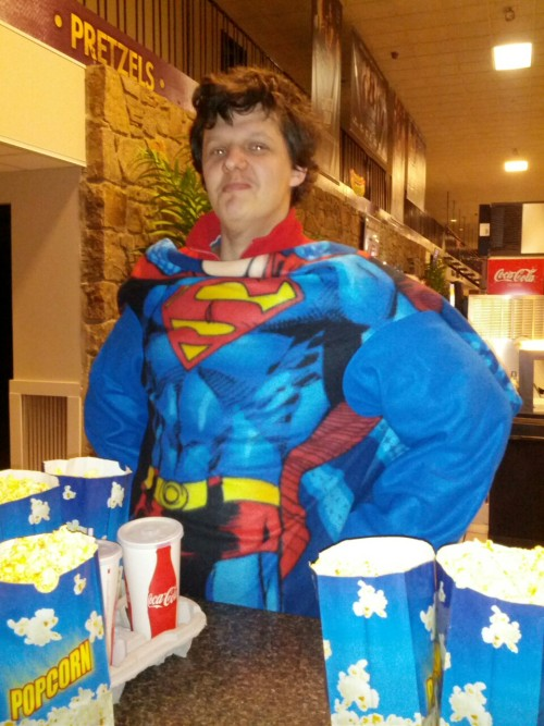 Ed as Superman at Leitersburg Theater's Snuggie Night!