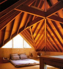 justthedesign:  Exposed Joist Structure Bedroom