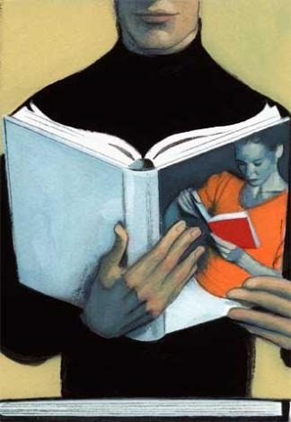 Reading the book of the reader / Leyendo el libro de la lectora (ilustración de Fernando Vicente)
