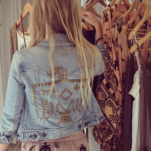 thebohemianmuse:  Denim Thunderbird Jacket