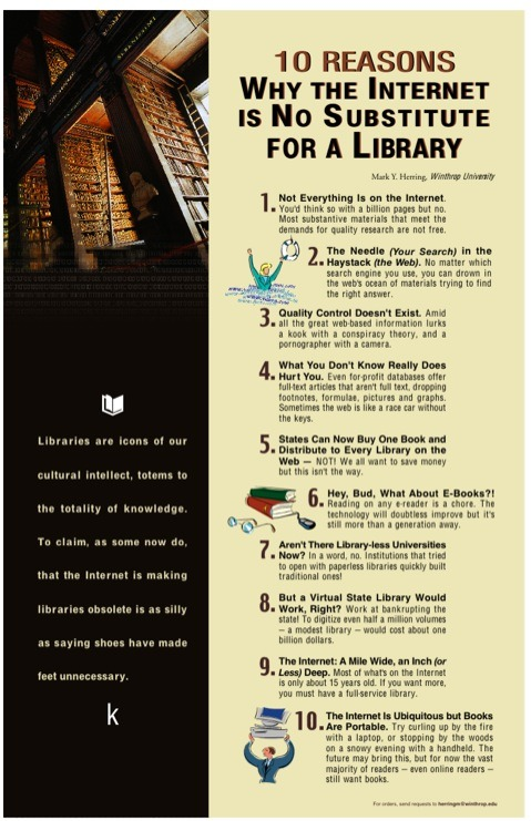 "jyhslibrary:  ""10 Reasons Why the Internet is No Substitute for a Library."" but is the argument any good? http://bionicteaching.com/?p=796"