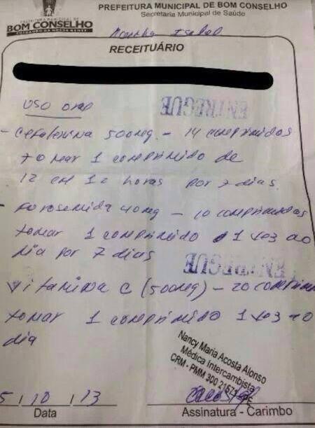 Cefalexina, Furosemida e Vitamina C.Tratamento cubano para erisipela.É isso que nosso povo merece do governo PT???  Fonte: Radar - DM na Saúde