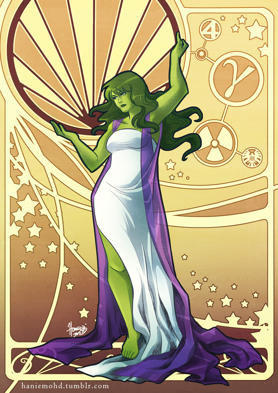 haniemohd:  Here she is - She-Hulk! I was thinking up ways on how to hint at her strength while still maintaining a graceful stance. Decided on this pose (somewhat inspired by images of Atlas bearing the world on his shoulders). She-Hulk may not be burdened by the weight on the world on her shoulders, but she CAN carry a hefty amount of weight - something which I *hope* I was able to depict here somewhat figuratively. Hope you all like! Thanks for looking :)