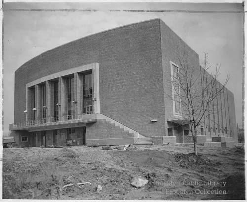 Whitman Hall, nearing completion. The photo is dated from 1955 and was found on the Brooklyn Visual Heritage site.