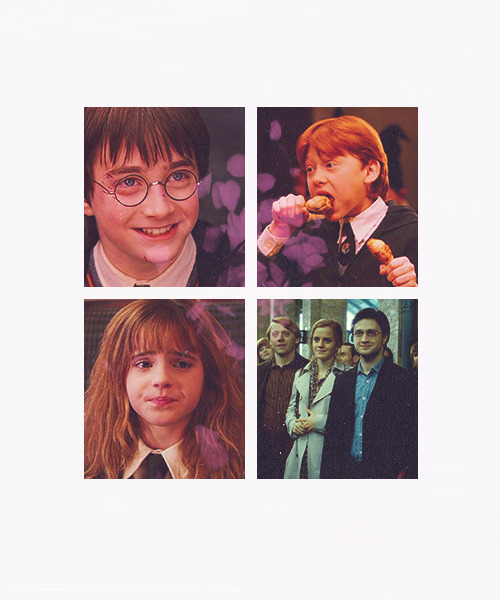 Harry Potter Meme → seven relationships (friendships, romantic ships, whatever ships) - Golden Trio [1/7]
