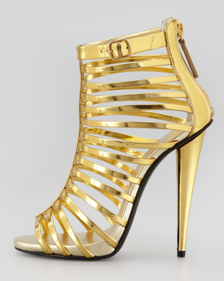 Giuseppe Zanotti Mirrored peep-toe cage bootie with zip at the back. Click here to buy.