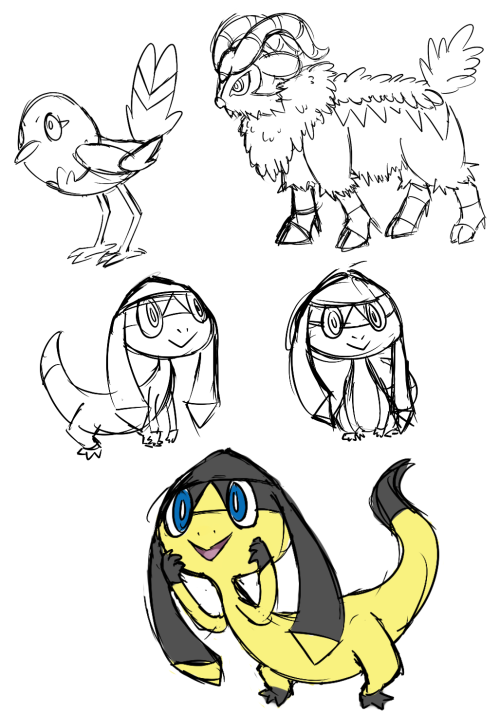 tried drawing some of the new Pokémon, ended up drawing helioptile more than the others, I just think it is really adorable. only did really simple 'capture the body shape' doodles for fletchling and gogoat. might doodle pancham later…