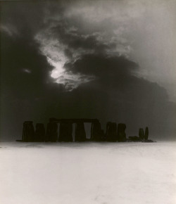 houkgallery: Bill Brandt (British, b. Germany, 1904-1983)Stonehenge in the Snow, c. 1947.© Bill Brandt Archive Ltd./Courtesy Edwynn Houk Gallery, New York. British Heritage is taking resumes for Stonehenge manager through May 5. Just saying.