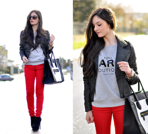 lookbookdotnu:  Red & Gray… (by Alba .)
