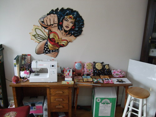 charginghearts:  Hey, I cleaned my studio space. And if you're curious, Wonder Woman is there to KNOCKOUT procrastination. I also updated my Blog so check it out here!  I will charm you off your feet!