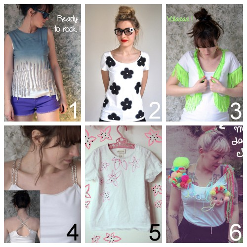 truebluemeandyou:  DIY Six Easy Tee Shirt Restyles from Clones N Clowns Part 4. Part 1 is here, Part 2 is here and Part 3 is here. Clones N Clowns is doing 30 DIY Tee Shirts in 30 Days. For 25 pages of altered DIY tee shirts go here: truebluemeandyou.tumblr.com/tagged/tee-shirt Shredded and Studded Crop Top here. Stenciled Tee (tutorial in French but photos are enough) here. Fringe Jacket Tee here. Good idea - I'd customize it to my taste with different trim. Chain Straps Tank Tee here. I'm not sure how comfortable this would be, but I like how it looks, especially the crossed back. Hawaiian Flower Tee with Fabric Pen Markers here. I used Chrome to automatically translate French to English. Baby Doll Pompom Tee here. I have lots of pompom tutorials here. You could also use my favorite - tee shirt transfer iron on paper (ink jet printer, washes amazing well, color are fantastic).