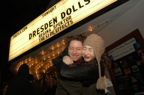 "amandapalmer:  OLD. SCHOOL. LOVE. me & regina spektor (@ReSpektor), right before a gig together a long time ago in philadelphia.  her songs, her voice, her music, those WORDS, those worlds - came into my ears like a music box hurricane. the album was ""soviet kitsch""…the first record i'd heard since high school that made me obsessed. i listened to it again and again and again, on a bike, in bed, in the car. i was so fucking glad she agreed to open up for my band. soon after, she got famous. i was happy. #regina"
