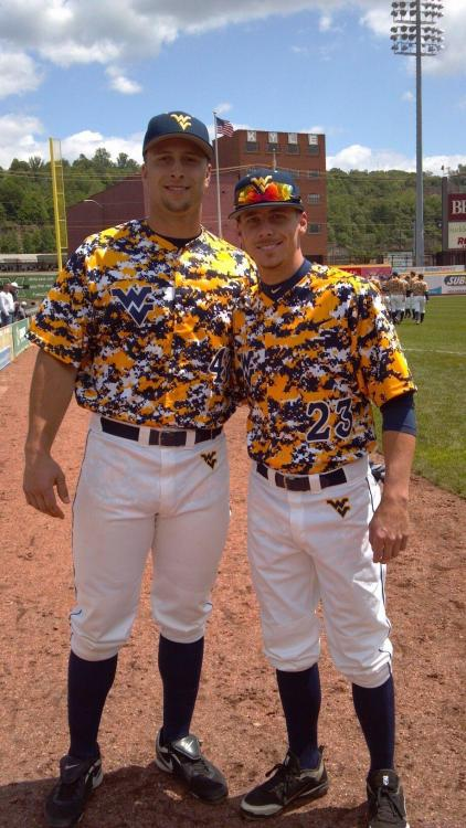 West Virginia's camo baseball uniforms, perfect for hiding out in a crowd of West Virginia fans.  via @WVU_Baseball