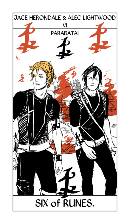 """""Are we going to see a Jace and Alec card?"" Ask and ye shall! From Cassandra Jean's Shadowhunter Tarot."