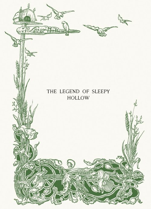 oldbookillustrations:  Margaret Armstrong, half title page from The legend of Sleepy Hollow, by Washington Irving, New York, 1899.  (Source: archive.org)
