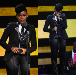 "africanfashion:  For those of you who criticize Janelle's signature monochromatic look. From her speech on ""Black Girls Rock"": ""When I started my music career, I was a maid. I used to clean houses. My mother was a proud janitor. My stepfather, who raised me like his very own, worked at the post office and my father was a trashman. They all wore uniforms and that's why I stand here today, in my black and white, and I wear my uniform to honor them. This is a reminder that I have work to do. I have people to uplift. I have people to inspire. And today, I wear my uniform proudly as a Cover Girl. I want to be clear, young girls, I didn't have to change who I was to become a Cover Girl. I didn't have to become perfect because I've learned throughout my journey that perfection is the enemy of greatness. Embrace what makes you unique, even if it makes others uncomfortable."" - Janelle Monáe"