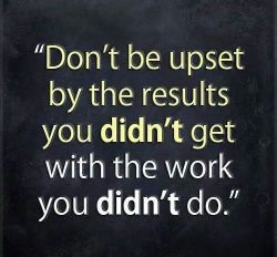 Don't be upset by the results you didn't get…