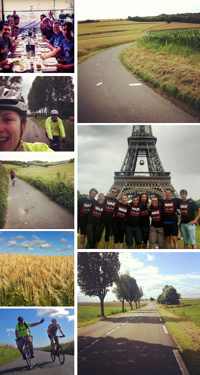 "(Pictured: London to Paris fundraiser 2012) ""We're proud to be Forward's charity partner""  Elisabeth Little, War Child's Partnerships Manager: ""We're really proud to be Forward's Charity Partner and really feel part of the fixtures and fittings at Forward's offices! It's been such fun fundraising with Forward staff, from comedy to bake sales, quiz nights and competitions you've climbed Kili, cycled to Paris and lived off £1 a day. And it's not over yet… in July this year War Child's very own CEO will join 5 Forward swimmers as they swim the channel to France. We've done a lot since we started the partnership in 2012 and not just fundraising. Forward staff have really got involved with War Child and in many ways become part of our team and the following  comments from our staff are just some examples of this!"""