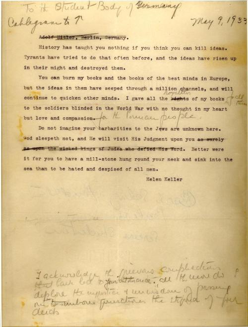"""God Sleepeth Not"": Helen Keller's Blistering Letter to Book-Burning German Students"""