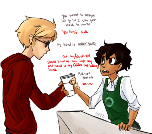 lets take a break from fuchsia!karkat. a coffee break specifically  ((and then dave gets Karkat's number by telling him he wont let go until he gets his digits. Karkat considers giving him a random phone number, but doesnt oops. then they date and smooch and gosh))