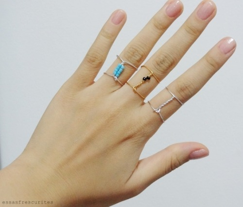DIY Wire Wrapped Bead Ring Tutorial from Essas Fescurites here. I used Chrome to translate Portuguese to English.For pages more of cheap and easy wire wrapped jewelry go here: truebluemeandyou.tumblr.com/tagged/wire