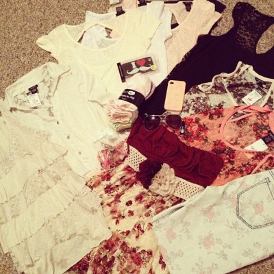 My damage I did today. 😍 I  love buying clothes and wanting to show someone and talk to them about it…but since I don't really have a friend who cares about this stuff (haha) I thought I'd get a blog. I need to get this off my chest  somehow! lol I don't think my face is ready for videos quiet yet so video hauls are a no-go right now. Would anyone read it? I'd post them anyway, even if noone read it 😜 ha #clothing #clothes #fashion #tanks #jeans #floral #lace #haul #clothinghaul #rue21 #sale #shopping #shirts #iphone #pastel #girly #outfit #ootd #ootn #oote