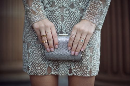 what-do-i-wear:  Patricia Bonaldi dress, Jimmy Choo clutch, Gorjana bracelet, Jacquie Aiche rings, Ileana Makri rings  (image: tuulavintage)