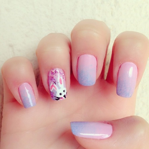 Cute Bunny Nails by Bruna V.!
