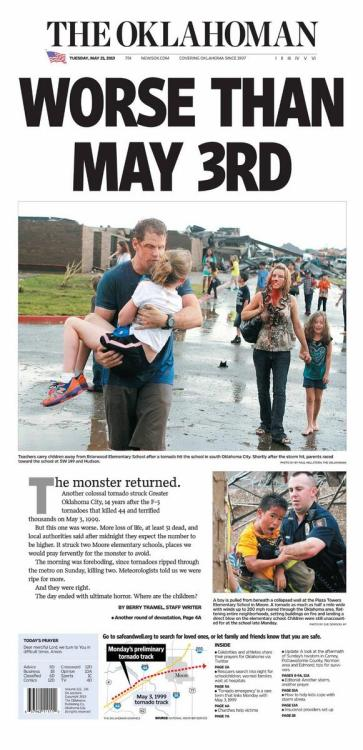aboveaveragea:  The Front Page of 'The Oklahoman' Newspaper for May 21st, 2013 day after the #Tornado.