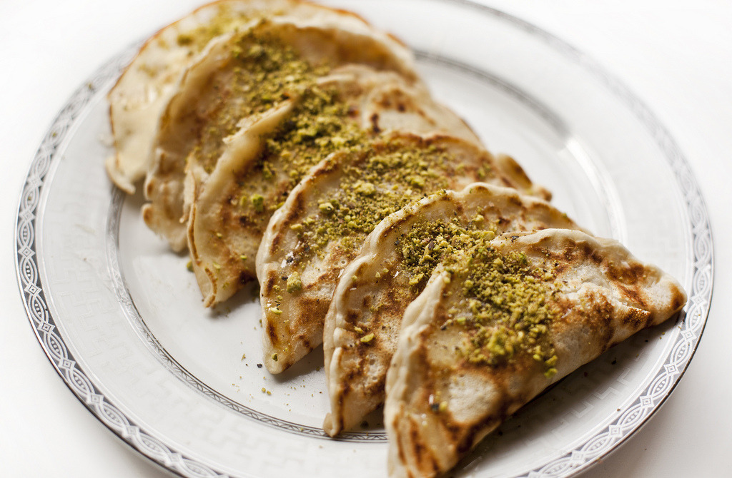 Atayef (walnut filled pancakes)