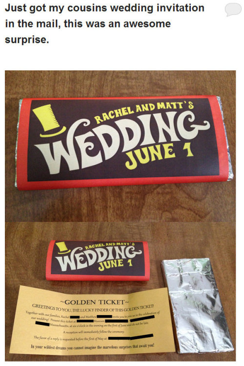 jackfrostsbodyparts:  smexyketchup:  theinturnet:  awesome wedding invite  was the chocolate good  there are two fucking types of people