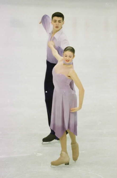 Tatiana Siniaver and Tornike Tukvadze skating the Ravensburger Waltz at the 2002 European Championships. Photo by Barry Mittan.