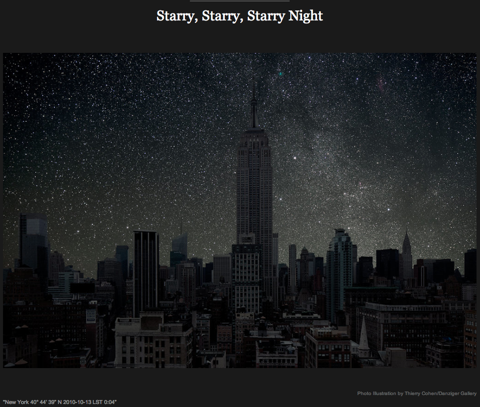 NY Times: What city dwellers might see in the absence of light pollution.