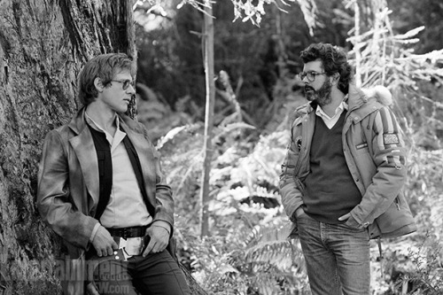 benfoldi:  Rarely seen photo of Harrison Ford and George Lucas. Return of the Jedi.