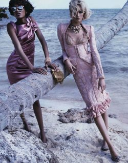 opalescence:  Jourdan Dunn & Daria Strokous | by Josh Olins | Vogue Japan | April '12