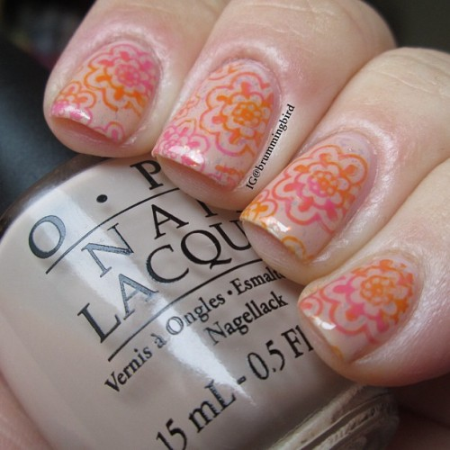 "truthteller:  Gradient stamping and nudes are my favorites this week! Base is OPI ""Samoan Sand"" with Sally Hansen ""Hidden Treasure"" (hard to see in this picture but it made the whole manicure very shiny). The stamping is with a Bundle Monster plate BM-321 and Essie ""Off the Shoulder"" and ""Fear or Desire."" #fckyeahnailart #thenailartstory #nailartclub #nailartoohlala #nails2inspire #dailydigits"