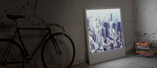 "Polaboy Frames by Swissmiss ""Polaboys are enlarged Polaroids to a scale of 10:1 (to 88x107cm) and backlit. They are 20 mm thick and use energy-saving LED area lights. The frame is wooden and they are made in Germany. Also good to know: The photographs can be changed at any time and you can even send your custom image."""