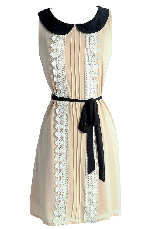 Emma Peter Pan Collar Chiffon and Crochet Trim Dress in Beige Lilyboutique.com - $38
