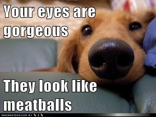 Your eyes look like meatballs.