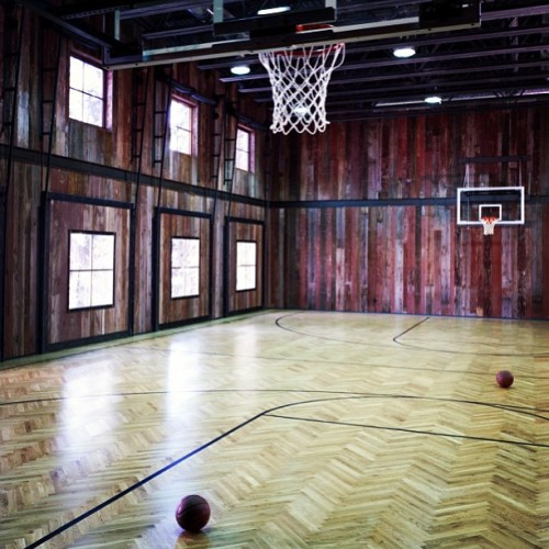 Unique indoor basketball court. #basketball #court #design #style #luxury #mansion #architecture #rich