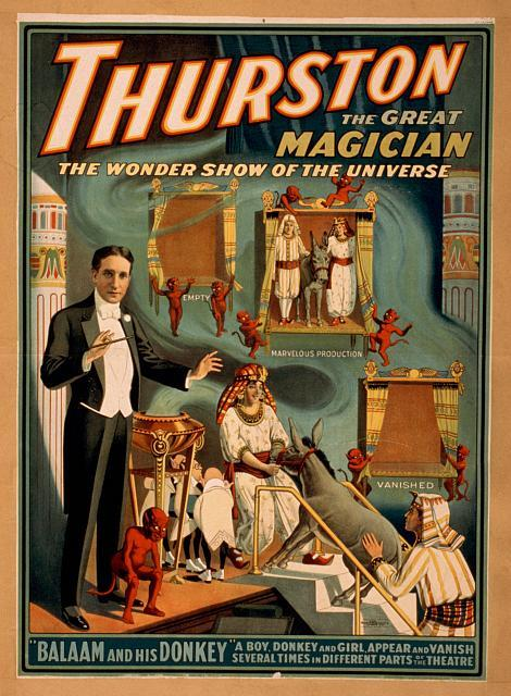 "weirdvintage:  Thurston the great magician presents ""Balaam and His Donkey—A Boy, donkey, and girl appear and vanish several times in different parts of the theatre"", 1914 (via Library of Congress)"