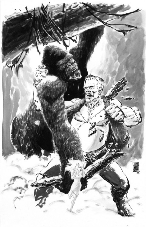 (via King Kong vs Frankenstein by Jun Bob Kim, in Jun Bob Kim's 2013 Commissions Comic Art Gallery Room - 1001152)