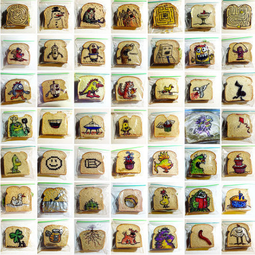5 years of hand drawn sandwich bags by a sweet and creative dad!
