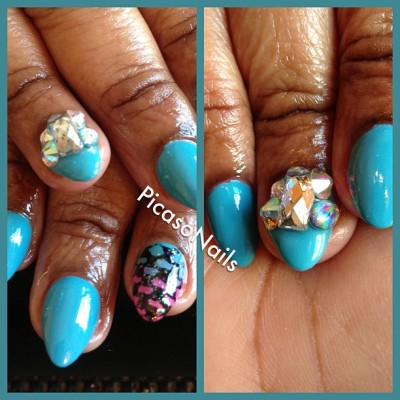 #gems #rhinestones #opi #blue #ombre #scales #nails #nailart #girls #pretty #spring