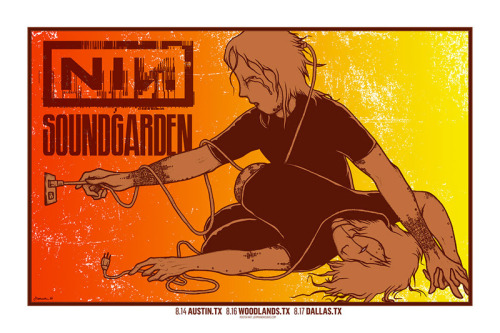 Jermaine Rogers Nine Inch Nails & Soundgarden posters for Texas and California On sale Details and see the Variants HERE