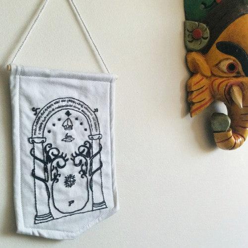 embroidery needlework modern embroidery stitching stitcher tapioca stitches lord of the rings tolkien tolkien fan art doors of durin speak friend and enter