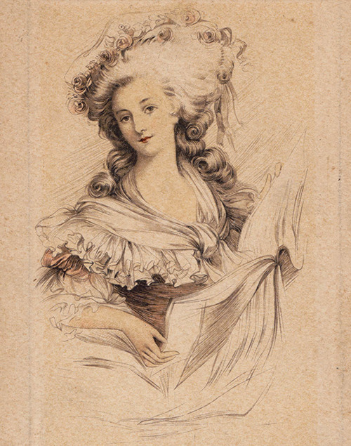 vivelareine:  Added this lovely postcard of the princesse de Lamballe to my collection! It is from a lovely vintage set of postcards meant to advertise the shampoo company, Petrole Hahn. I also purchased the Marie Antoinette card from the same set, which is on its way. source: my scan