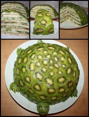 "chaysingvegan:  Have you ever seen a Turtle Kiwi Cake? Well, now you have RECIPE:Peeled, and thinly sliced kiwis (as many as it takes to cover shell)Bananas, thinly sliced, lengthwiseCoconut flesh (12 cup)Coconut water (14 cup)Dates, pitted (12 cup)1. Put coconut flesh, coconut water, and dates into a blender, and blend on high until you get an ""icing"" like consistency (not too liquidy, if it is too thin, add more dates)2. Start with layered bananas on the bottom, followed by some coconut date ""icing"", followed by thinly sliced kiwi rounds, and then some more ""icing"", and then more banana slices. Continue this pattern, moving slowly into the center until you get a 12 circle shape on your plate.3. Next, layer the 12 circle with thinly sliced kiwi rounds to make the green colour of the turtle shell.4. Make the head, feet, and tail, simply by carving out individual kiwis to get the shapes as pictured in the picture below."